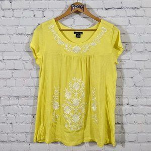 💎 RXB Embroidered Floral Tee Yellow M